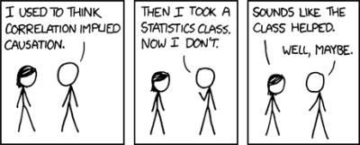 Correlation doesn't imply causation, but it does waggle its eyebrows suggestively and gesture furtively while mouthing 'look over there'.